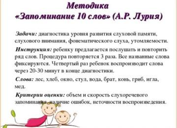 Методика «10 слов Лурия»: для дошкольников